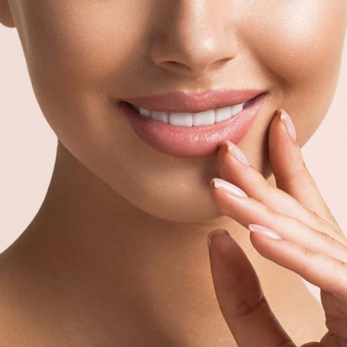 Woman beauty face portrait isolated  with healthy skin and white teeth smile